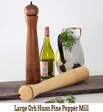 Large Orb Huon Pine Pepper Mill