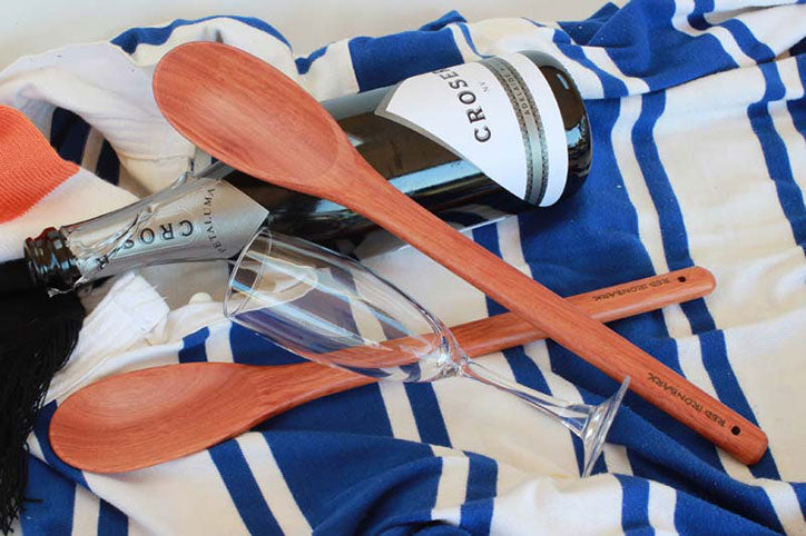 Wine, Glasses, Blanket and Wooden Spoons