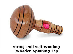 String-Pull Self-Winding Wooden Spinning Top