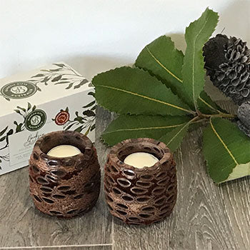 Pair of Banksia T-light Candle Holders