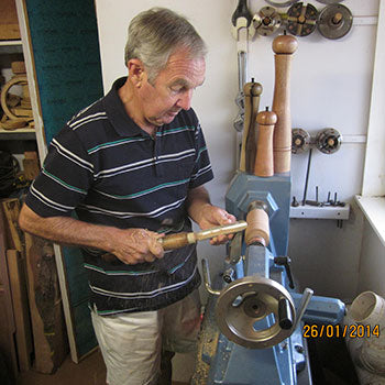 Photo of Trevor Short on Lathe