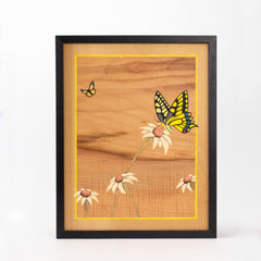 Yellow Butterfly Marquetry Artwork