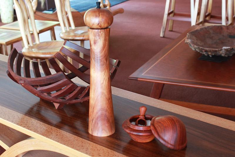 Image of a Blackwood Pepper Mill & Salt Pot on a table