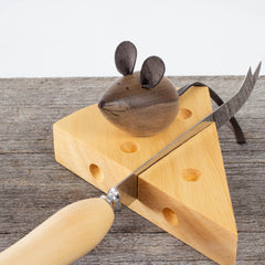 Huon Pine Cheese Knife & Cheese Rest with Mouse