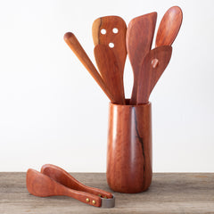 Red Hardwood Utensil Holder