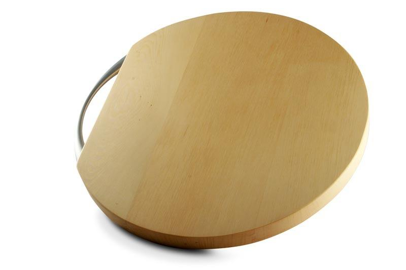 Image f a Round Huon Pine Cheese Board on a white surface