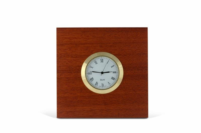 Front view picture of a Square Jarrah Desk Clock