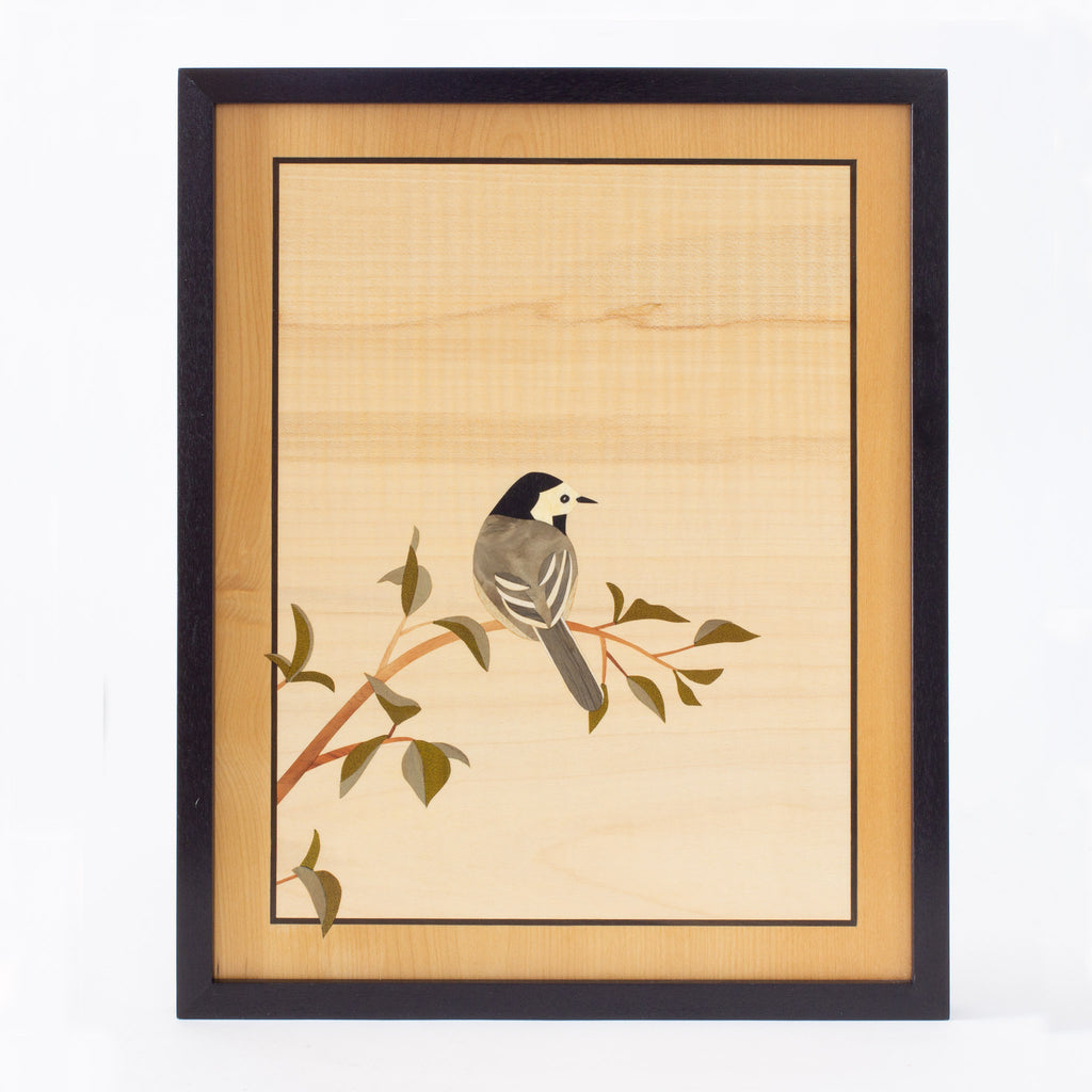 White Wagtail Marquetry Artwork