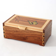 Yellow Butterfly Marquetry Box