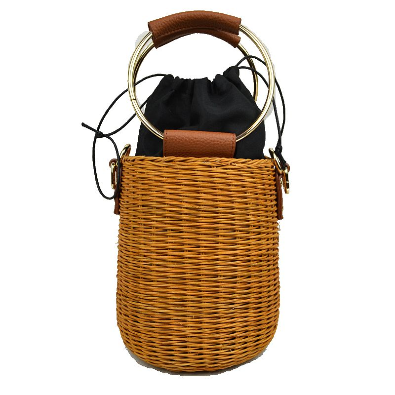 """Jada"" Barrel Straw Handbag"
