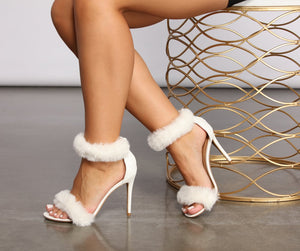 """Toni"" White Faux Fur Heels"