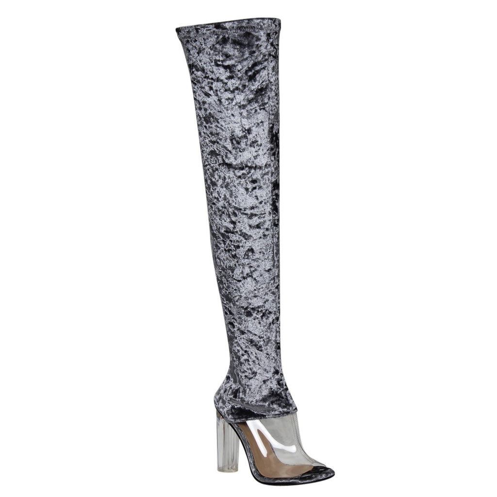 """Cherry"" Thigh High Crushed Velvet Clear Block Heel Boots-Gray"