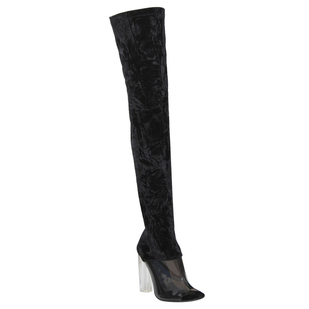 """Cherry"" Thigh High Crushed Velvet Clear Block Heel Boots- Black"