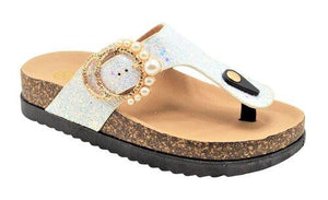 """Alison"" glitter and Pearl Embellishment Sandals"