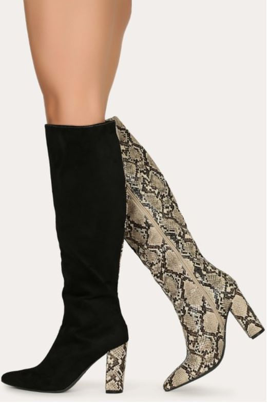 """Penny"" Two-Tone Black and Beige Calf Boots"