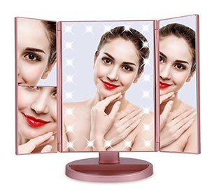 Trifold Makeup Vanity mirror with 21 LED Lights and up to 3x Magnifying