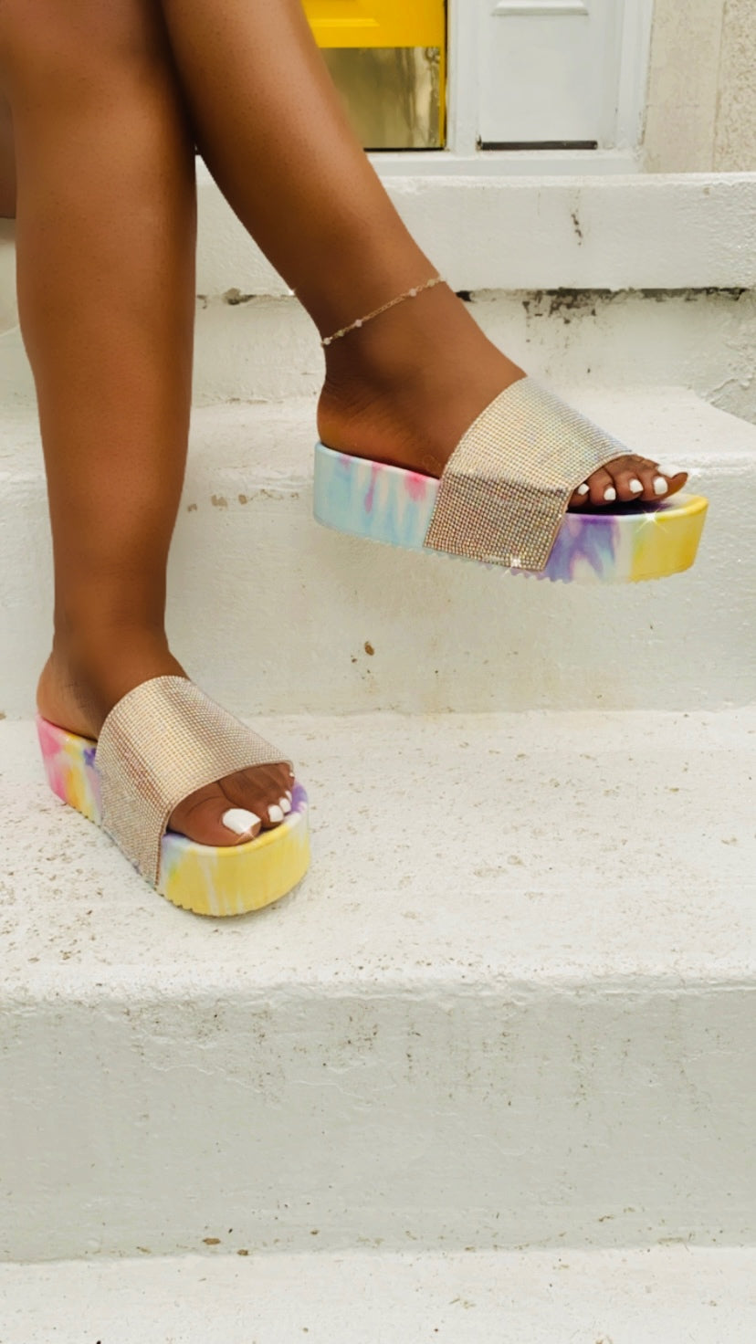 """Shanice"" Rainbow Tie-Dye Platform Jeweled Sandals"