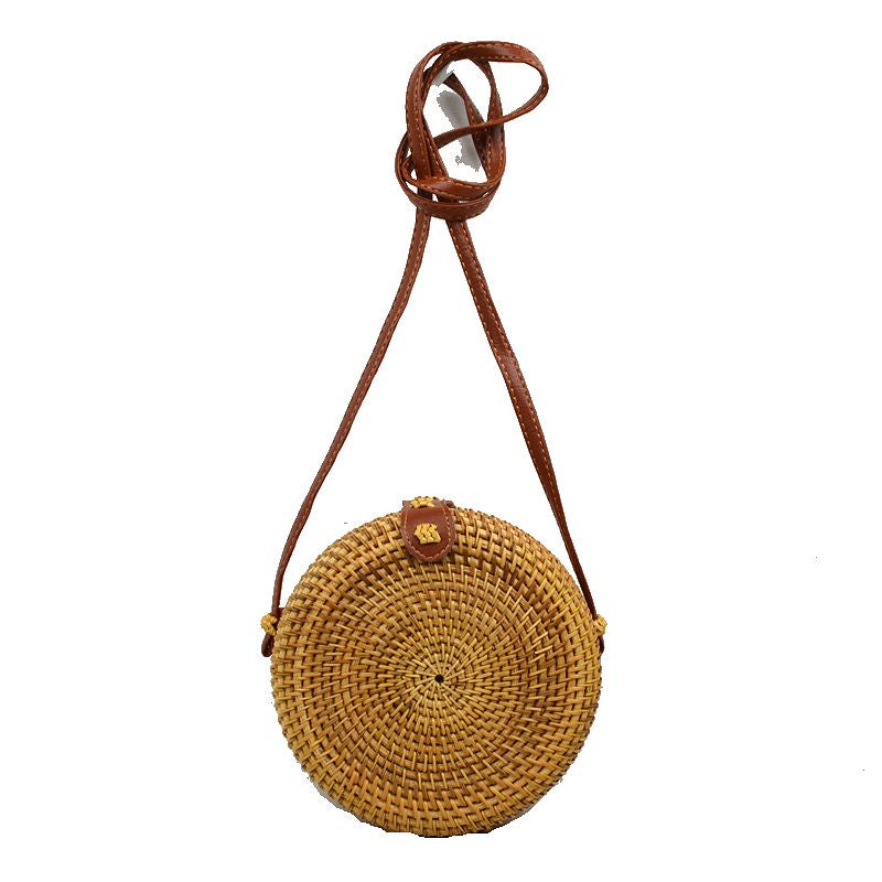"""Shelly"" Small Round Straw Handbag"