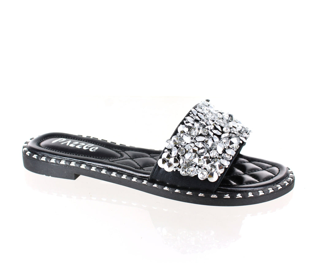 """Kris"" Black Jeweled Sandals"
