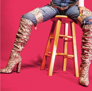 """Cookie"" Waist high Faux Snake Skin Boots"