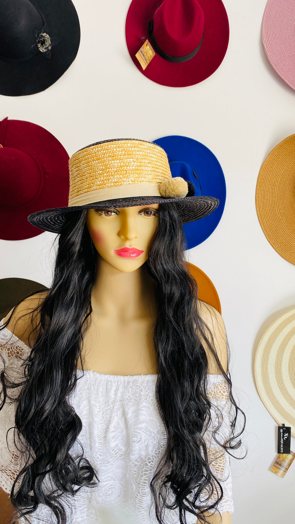 """Molly"" Pom Pom Straw Hat"