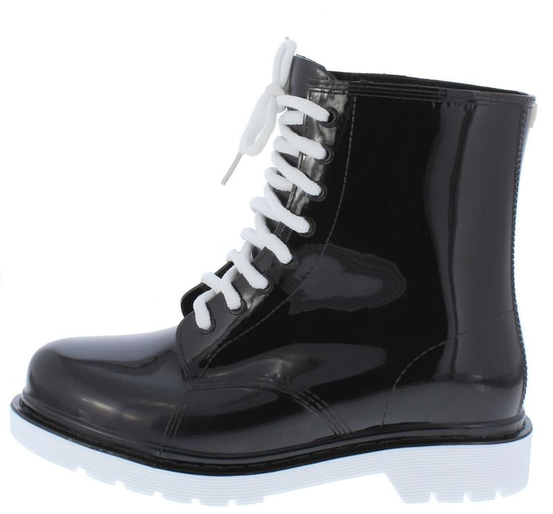 """Janet"" Black/White Lace up Rain Boots"
