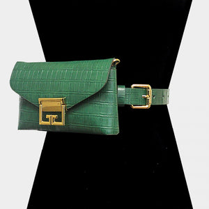 """Lena"" Alligator Pattern Vegan Leather Belt Bag"