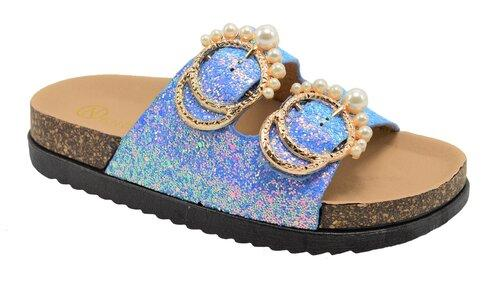 """Chelsea"" Glitter and Pearl Slide on Sandals"