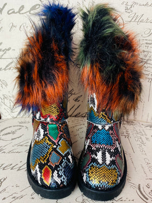 """Alaska"" Faux Fur Winter Boots- Multi Snake"