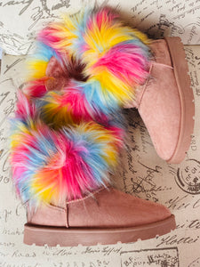 """Alaska"" Faux Fur Winter Boots- Pink"