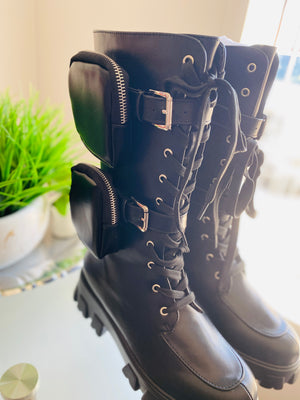 """Judy"" Black Vegan Leather Combat Boots"