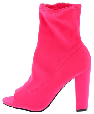 """Megan"" Neon Pink Peep Toe Ankle Boots"