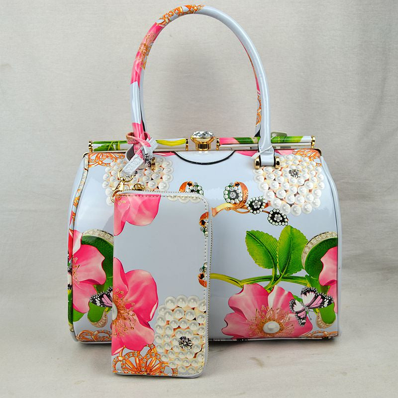 """Mercedes"" Floral 2-piece Handbag Set"