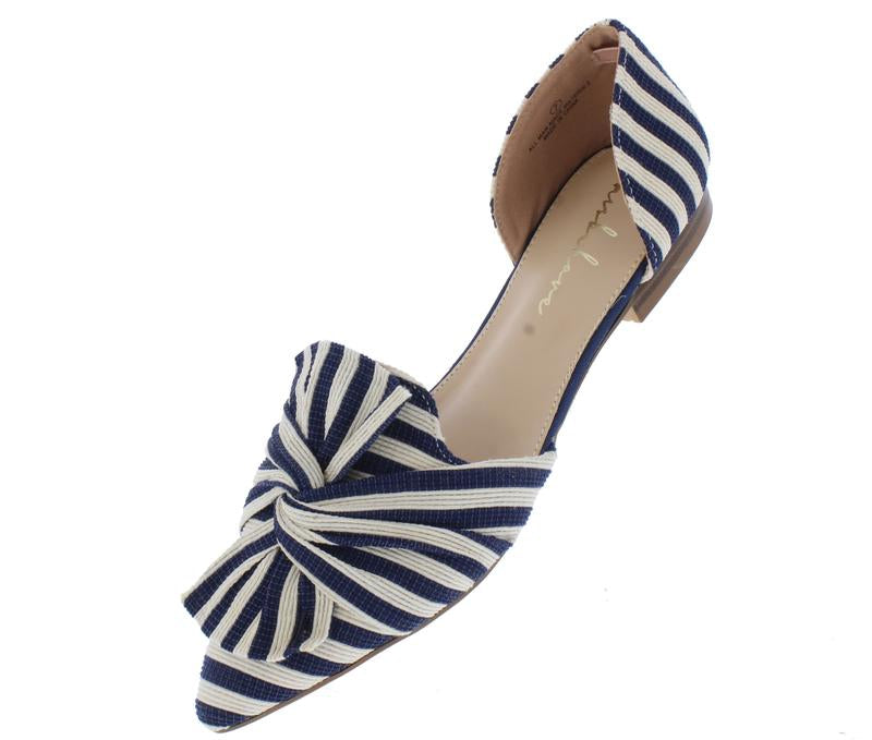"""Jean"" Pointed Toe Cutout Flats"