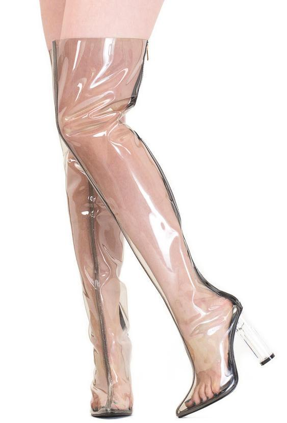 """Taina"" Black Clear Transparent Lucite Pointed Toe Boot"