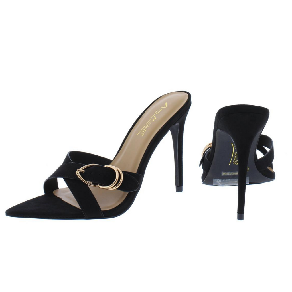 """Tina"" Pointed open toe heel-Black"