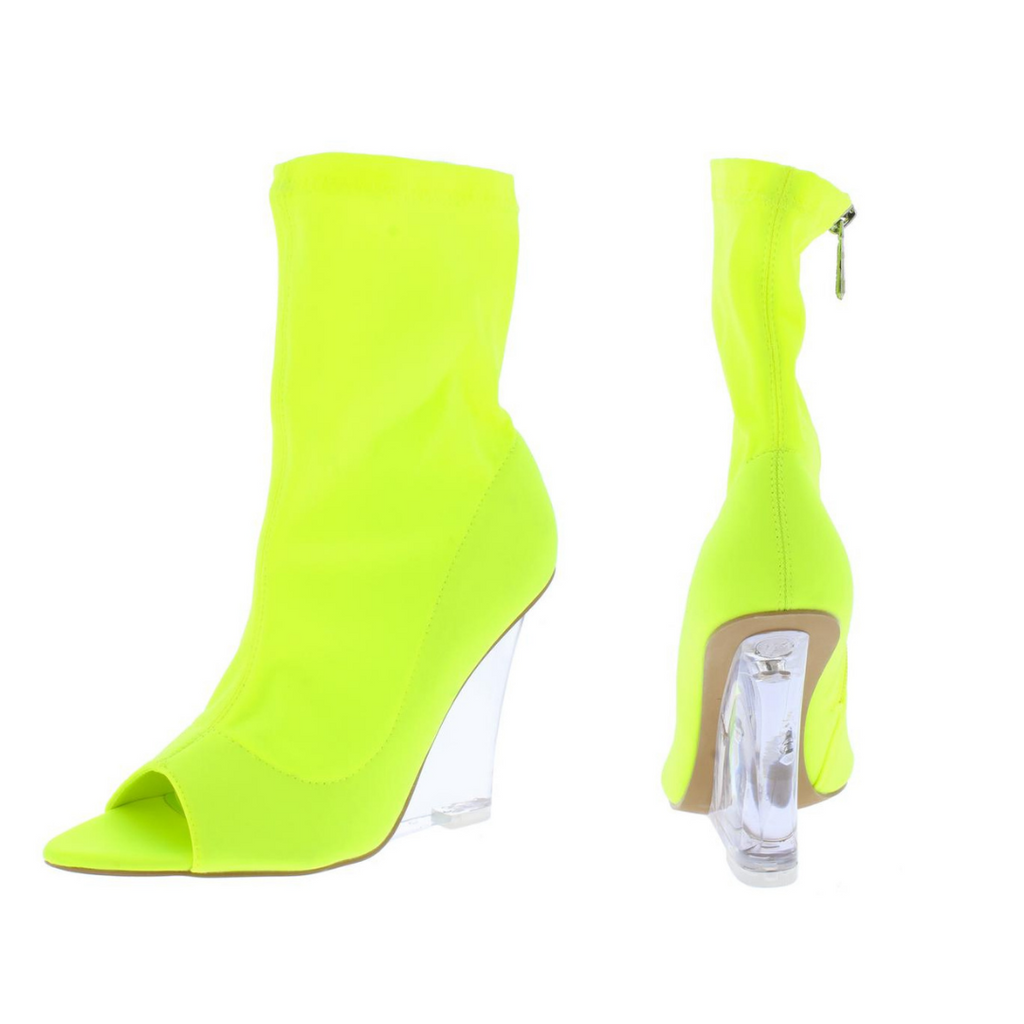 """Pier"" Lime Green Peep Toe Wedge Boots"