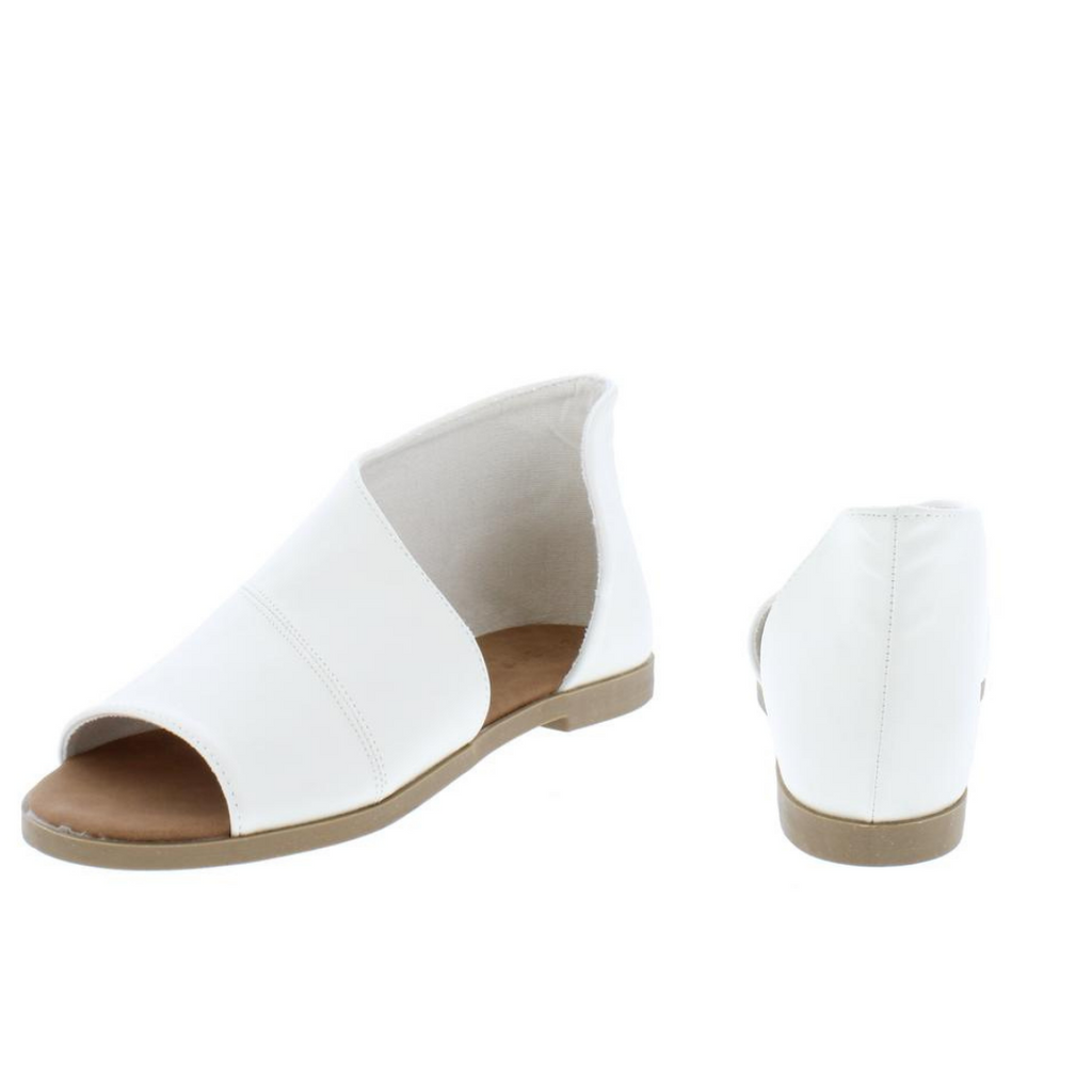 """Megan"" White Side Cut Wrap Open Toe Flat Sandal"