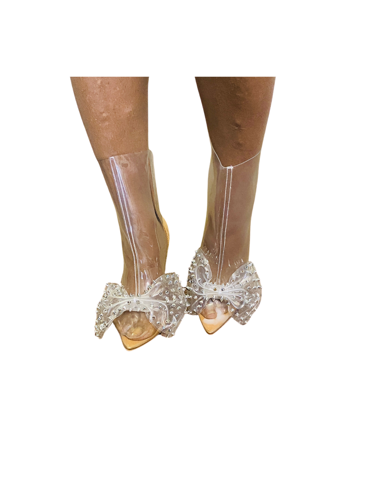 """Chrissy"" Nude Bow Stiletto Boots"