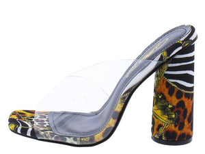 """Yams"" Safari Print Cylinder Slip-On Heels"