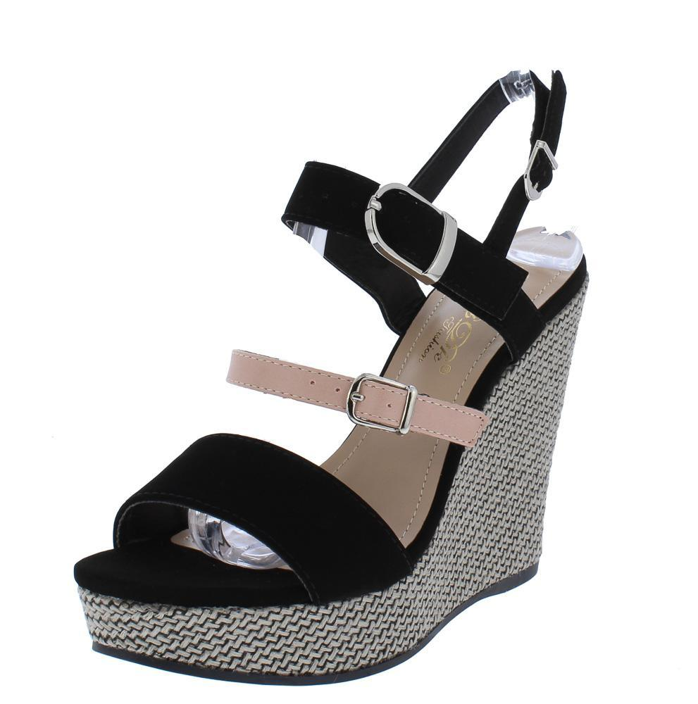 """Aubrey"" Black Open Toe Platform Wedge"