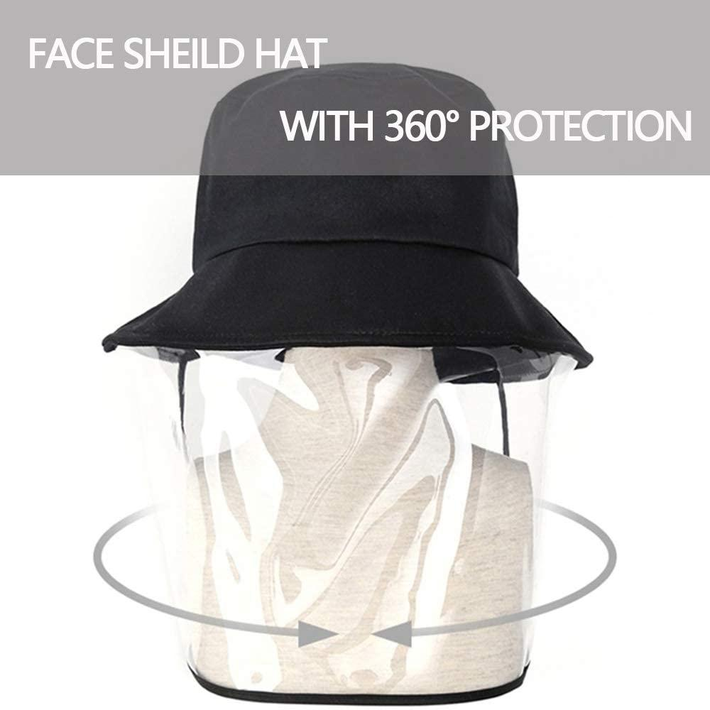 Bucket hat with Face Shield; Clear Anti Spitting Protective Face Shield, Anti-Saliva, Windproof, Dustproof, Sand Proof Mask with Anti-UV Fog Splash Sun Protective Hat