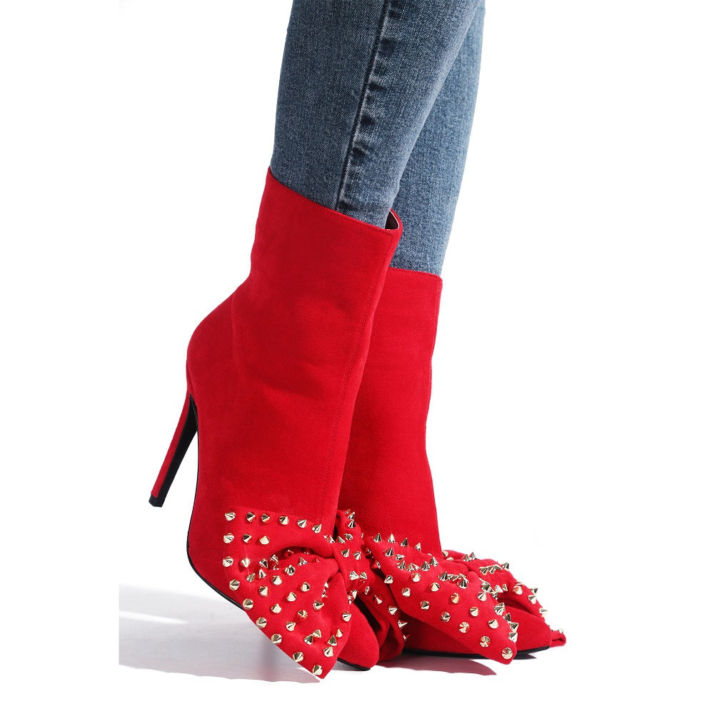"""Chrissy"" Red Bow Stiletto Boots"