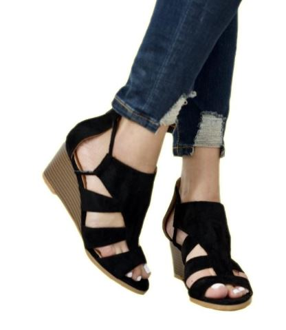 """Katie"" Upper Cut Ankle wedge Sandals"