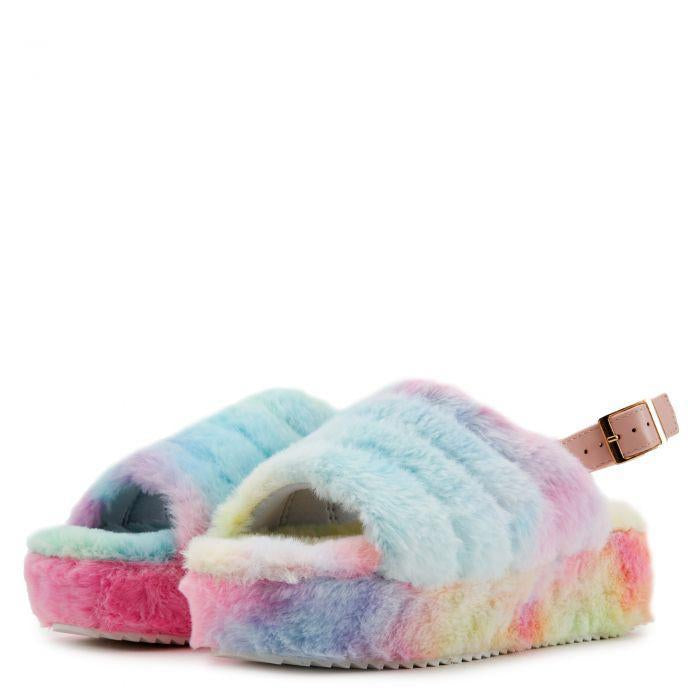 """Snuggles"" Cotton Candy Faux Fur Slingback Platform Slides"