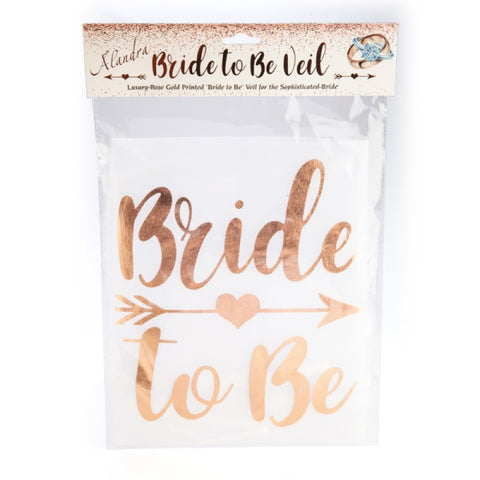 BRIDE TO BE VEIL WITH ROSE GOLD LETTERING