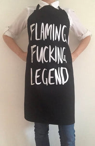 FLAMING FUCKING LEGEND APRON by KITCHEN LANGUAGE