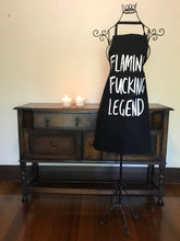 Load image into Gallery viewer, FLAMING FUCKING LEGEND APRON by KITCHEN LANGUAGE
