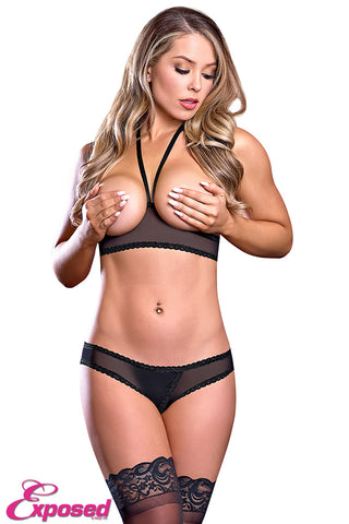 EXPOSED LINGERIE CUPLESS BRA AND CROTCHLESS PANTY