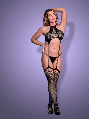 EXPOSED LINGERIE GARTERED BODYSTOCKING AND G-STRING